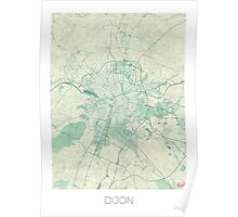 Dijon Map Blue Vintage Poster