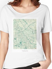 Tianjin Map Blue Vintage Women's Relaxed Fit T-Shirt