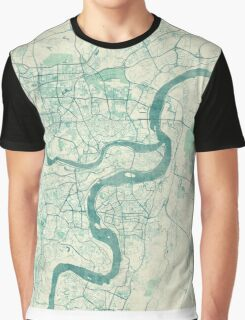 Chingqing Map Blue Vintage Graphic T-Shirt