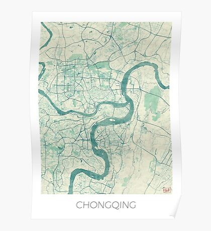 Chingqing Map Blue Vintage Poster