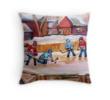 COUNTRY FROZEN POND HOCKEY PAINTINGS Throw Pillow