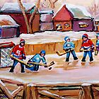 COUNTRY FROZEN POND HOCKEY PAINTINGS by Carole  Spandau