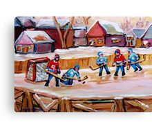 COUNTRY FROZEN POND HOCKEY PAINTINGS Canvas Print
