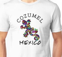 COZUMEL MEXICO LIZARD GECKO TROPICAL HIBISCUS FLOWER COLORFUL RAINBOW TROPICAL BEACH  Unisex T-Shirt