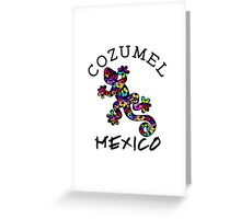COZUMEL MEXICO LIZARD GECKO TROPICAL HIBISCUS FLOWER COLORFUL RAINBOW TROPICAL BEACH  Greeting Card