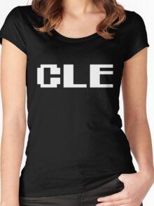 Tecmo Bowl Cleveland Browns Football 8-Bit NES Nintendo Pixel Type Shirt T-shirt Women's Fitted Scoop T-Shirt