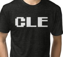 Tecmo Bowl Cleveland Browns Football 8-Bit NES Nintendo Pixel Type Shirt T-shirt Tri-blend T-Shirt