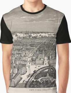 387 New York Birds' eye view looking south from Union Square Graphic T-Shirt