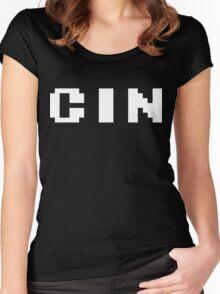 Tecmo Bowl Cincinnati Bengals Football 8-Bit NES Nintendo Pixel Type Shirt T-shirt Women's Fitted Scoop T-Shirt