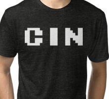 Tecmo Bowl Cincinnati Bengals Football 8-Bit NES Nintendo Pixel Type Shirt T-shirt Tri-blend T-Shirt