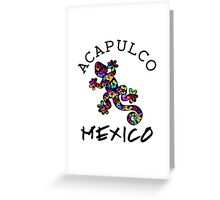 ACAPULCO MEXICO LIZARD GECKO TROPICAL HIBISCUS FLOWER COLORFUL RAINBOW TROPICAL BEACH  Greeting Card