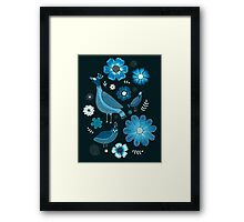 blue birds and flowers Framed Print