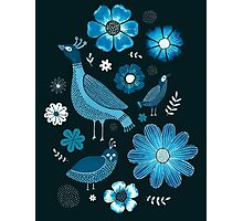 blue birds and flowers Photographic Print