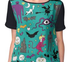 Retro Halloween - on Turquoise Chiffon Top