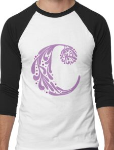 """C"" ~ Purple Men's Baseball ¾ T-Shirt"