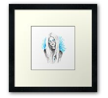 Boho girl. Blue Framed Print