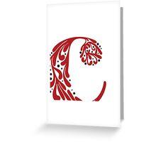 """C"" ~ Red & Black Greeting Card"