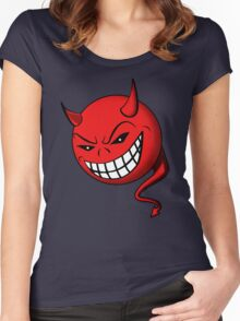 Devil, Emoji, Smiley, Cartoon face funny T-shirt  Women's Fitted Scoop T-Shirt