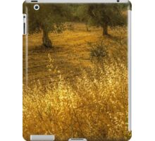 Golden corn in the olive grove iPad Case/Skin