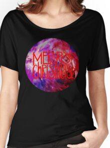 Merry Christmas nebula galaxy Women's Relaxed Fit T-Shirt