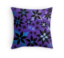 A Field of Midnight Flowers Print (Purple/Texture Version) Throw Pillow