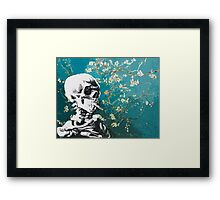 Skull with burning cigarette on cherry blossom Framed Print