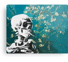 Skull with burning cigarette on cherry blossom Canvas Print