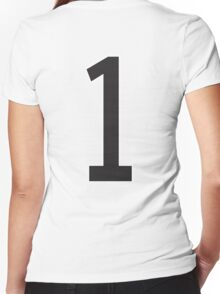 1, ONE, TEAM, SPORTS, STENCIL, NUMBER 1, FIRST, Numero Uno, Uno, Ichi, Win, Winner, Competition Women's Fitted V-Neck T-Shirt