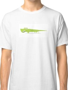 Cartoon happy green crocodile isolated on white background Classic T-Shirt