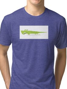 Cartoon happy green crocodile isolated on white background Tri-blend T-Shirt