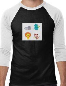 Cute safari animals set - hippo, rhino, lion and monkey Men's Baseball ¾ T-Shirt