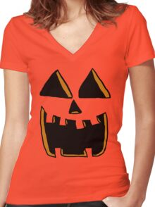 Happy Jack O'lantern Face  Women's Fitted V-Neck T-Shirt