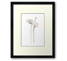 Poppy White Flower Painting Watercolor Image Poster Illustration Framed Print