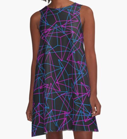 Abstract Geometric 3D Triangle Pattern in Blue / Pink - mini A-Line Dress