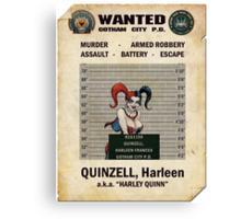 Harley Quinn - Gotham's Most Wanted Canvas Print