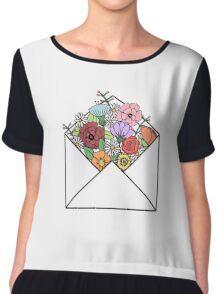 HIPSTER LOVE / FLOWERS LETTER Chiffon Top