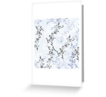 Leaves and Branches Pattern in Pale Blue, Grey and White Greeting Card
