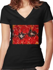 Modern Red Poppies - Sharon Cummings Women's Fitted V-Neck T-Shirt