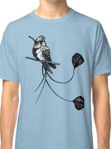 black and white paint draw eagle hummingbird  Classic T-Shirt