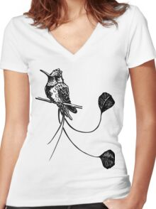 black and white paint draw eagle hummingbird  Women's Fitted V-Neck T-Shirt