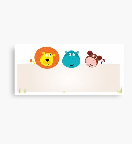 Cute jungle animals with blank sign. Lion, hippopotamus and monkey. Canvas Print