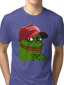 Pepe With MAGA Hat Tri-blend T-Shirt