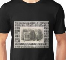 577 The New York Stock Exchange Trinity Church and Wall Street Below left bust portrait of George B Post architect Unisex T-Shirt