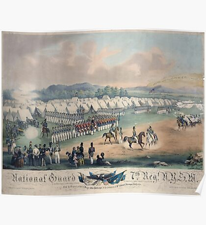 313 National Guard trophy of flags etc with Colonel A Duryee commandant 7th Regt NYSM at Camp Worth Kingston July 1855 forming for review and inspection by Inspector General B F Poster