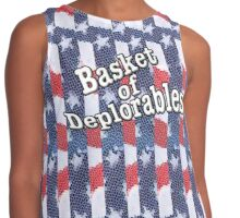 Basket of Deplorables on red, white, blue background Contrast Tank