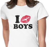 I kiss boys Womens Fitted T-Shirt
