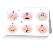 Baby boy and girl icons: facial expression. Greeting Card