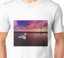 Dark Coloured Sunset with bright Seagull. Photo Art. Unisex T-Shirt