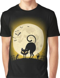 Graveyard Cat Graphic T-Shirt