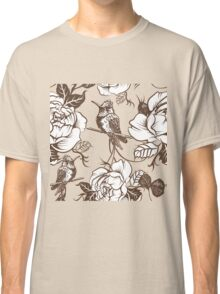 Vector seamless wallpaper pattern with birds and flowers Classic T-Shirt